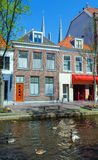 Vintage Houses on Canals, Delft Stock Photos