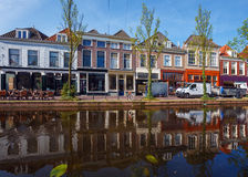 Vintage Houses on Canals System, Delft, Netherlands stock photos