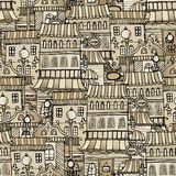 Vintage houses seamless pattern Stock Photo