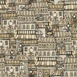 Vintage houses seamless pattern. Cartoon vector fairy tale vintage houses seamless pattern Stock Photo