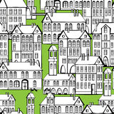 Vintage houses seamless pattern Royalty Free Stock Photography