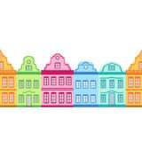 Vintage houses, seamless texture, border. Vector illustration Stock Image