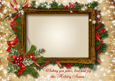 Vintage Сhristmas card with frame for photo or text Royalty Free Stock Photo