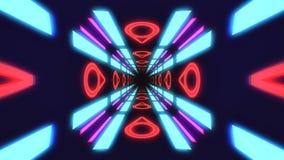 Vintage HUD rectangle tunnel VJ illustration. 4K Neon motion graphics for LED royalty free illustration