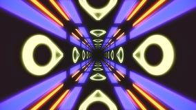 Vintage HUD rectangle tunnel VJ illustration. 4K Neon motion graphics for LED stock illustration