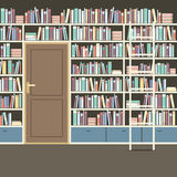 Vintage Huge Bookcase In Library. Royalty Free Stock Images