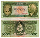 Vintage hungarian banknote from 1992 Royalty Free Stock Photo