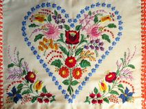 Vintage Hungarian Kalocsa Pillowcase Cover Heart Floral Roses Meadow Flowers Royalty Free Stock Photo
