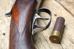 Vintage hunting gun with shells Royalty Free Stock Photography