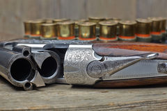 Vintage hunting gun with shells Stock Photo
