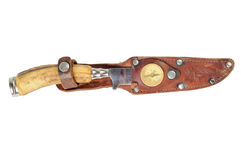 Vintage hunting knife with a bone. Handle and leather sheath. Isolated on white royalty free stock photography