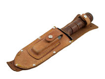 Vintage Hunting Knife in Sheath Royalty Free Stock Images