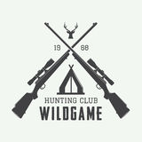 Vintage hunting label, logo or badge and design elements. Stock Photos