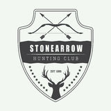 Vintage hunting label, logo, badge and design elements. Royalty Free Stock Photo