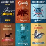Vintage Hunting Posters Collection Royalty Free Stock Images