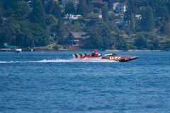 Vintage hydroplane U-77 at Seattle Seafair. Vintage hydroplane U-77 demoed at  Seattle Seafair August 1, 2009 Royalty Free Stock Photos