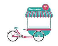 Vintage ice cream bicycle cart bus vector illustration. Stock Photos