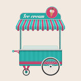 Vintage ice cream cart bus vector illustration. Royalty Free Stock Photography