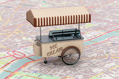 Vintage Ice Cream Cart over map Royalty Free Stock Images