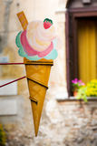 Vintage ice cream cone advertising sign Royalty Free Stock Photo