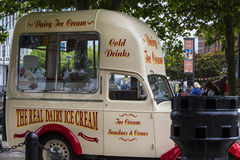 Vintage Ice Cream van on the Albert Dock in Liverpool in Merseyside in England Stock Images