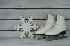 Vintage ice skating shoes Royalty Free Stock Photography