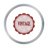 Vintage icon in cartoon style isolated on white background. Label symbol stock vector illustration. Stock Photography