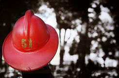 Vintage iconic red fireman's helmet Royalty Free Stock Images