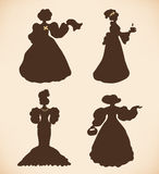Vintage icons collection of retro women Royalty Free Stock Images
