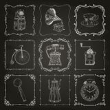 Vintage icons and frames Royalty Free Stock Image