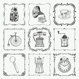 Vintage icons and frames Stock Images
