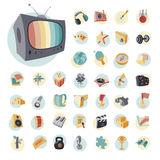 Vintage icons set for entertainment Stock Images
