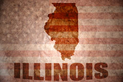 Vintage illinois map. Illinois map on a vintage american flag background Stock Photo