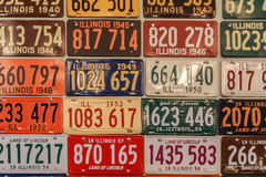 Vintage Illinois Vehicle License Plates. A collection of vintage State of Illinois license plates from the 1940`s and 1950`s Royalty Free Stock Photo