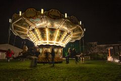 Vintage Illuminated Merry-go-round Stock Image