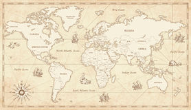 Vintage Illustrated World Map stock illustration