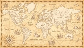 Vintage Illustrated World Map royalty free illustration