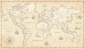 Vintage Map Of World.Vintage World Map With Wild Animals And Mountains Sea Creatures In