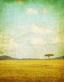 Vintage illustration of african landscape. Vintage retro illustration of african landscape Royalty Free Stock Images