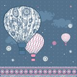 Vintage Illustration with air balloons Stock Images