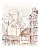 Vintage illustration of  Amsterdam Stock Photography