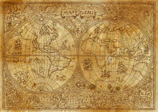 Vintage illustration of ancient atlas map of world on old paper. Pirate adventures, treasure hunt and old transportation concept. Grunge texture with graphic Royalty Free Stock Photos