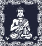 Vintage illustration with Buddha in meditation Stock Image