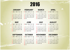 2016 vintage. Illustration of 2016 calendar with vintage background Royalty Free Illustration