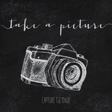 Vintage illustration with camera Royalty Free Stock Photography