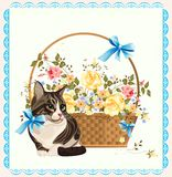 Vintage illustration of  the cat Stock Photo