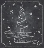 Vintage   illustration of chalkboard christmas greeting card with christmas tree, snowflakes and ribbon banner Stock Photography