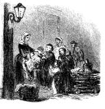 Vintage illustration, charity, giving food to pauper people Stock Images