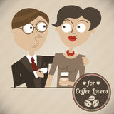 Vintage illustration of a couple with coffee and label Royalty Free Stock Photos