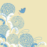 Vintage illustration of cute bird on the flowers Royalty Free Stock Image